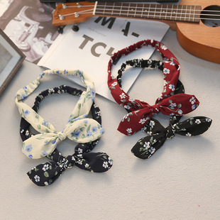 Korean style hair accessories, big bow tie, rabbit ears, hair band, ladies floral hair band, 2 yuan store, wholesale source of goods