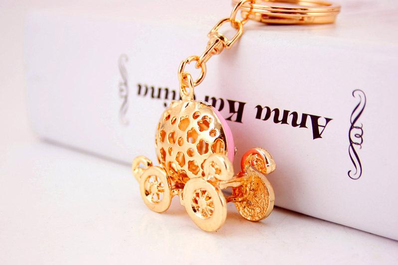 Creative cute diamond dripping pumpkin car keychain  NHAK267054