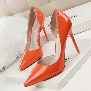 Contracted patent leather high heel shallow mouth pointed hollow out sexy show thin high-heels