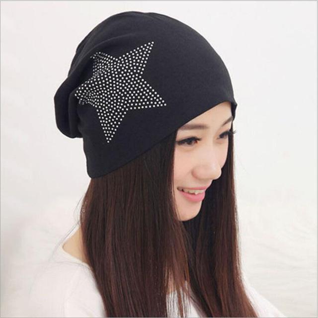 跨境爆品镶钻五角星图案针织套头帽女 筒帽堆堆街舞帽 包头帽批发