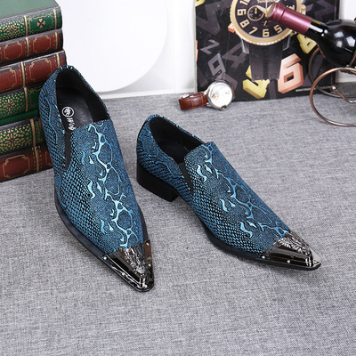 Men's stage performance singers leather blazer suit shoes British business pointed toe leather shoes plus size shoes