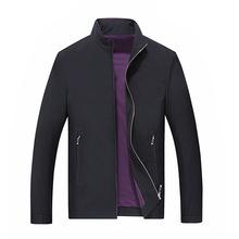 2019秋季新款中年男式夹克休闲外套高端男装纯色立领男夹克衫代发
