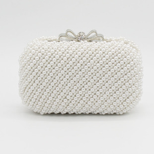 New sweet lady bow double-sided pearl bag banquet bag