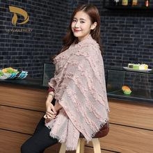 厂家爆款时尚复古民族风女士围巾 冬季保暖羊毛披肩礼品定制批发