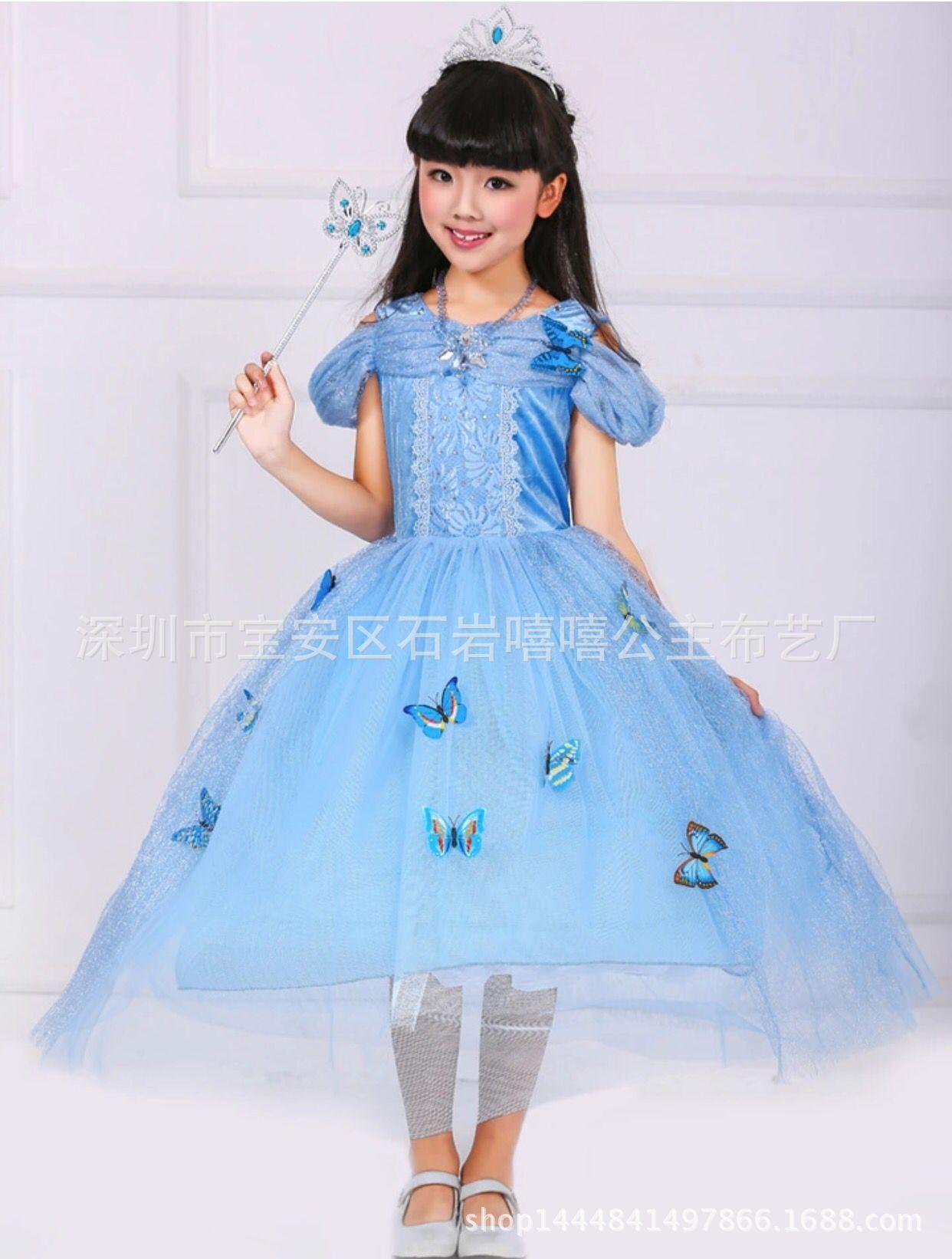 外贸品质圣诞节儿童表演服童装裙子天蓝色