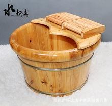 廠家直銷香柏木洗腳桶家用加厚泡足木桶熏蒸帶蓋按摩足浴盆泡腳木