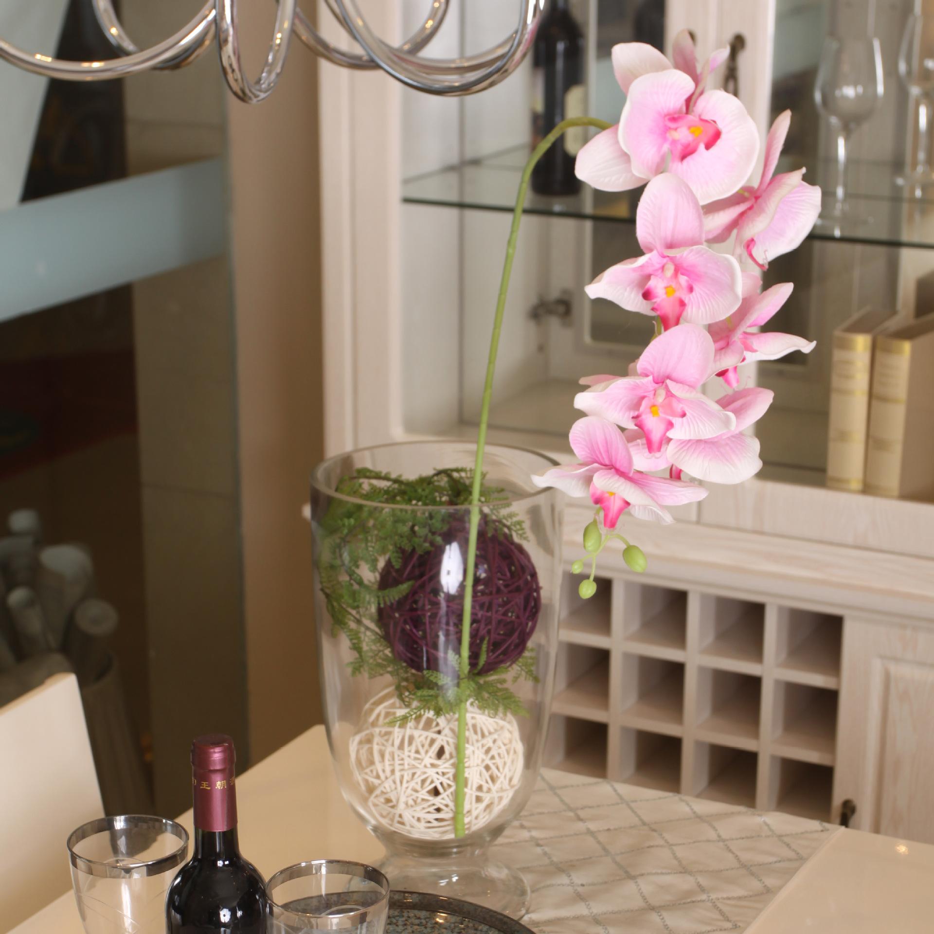 高仿真大八头蝴蝶兰假花塑料花厂家直销 婚庆家具装饰花卉