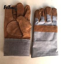 厂家直销 二层牛皮加托短电焊手套 耐高温焊工劳保防护手套批发