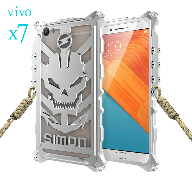 SIMON Mechanical Arm Skull Punk Premium Aluminum Metal Bumper Shockproof Case Cover for vivo X7 & vivo X7 Plus