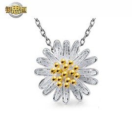 925 sterling silver necklace, small daisy necklace pendant, female short clavicular chain lovely jewelry
