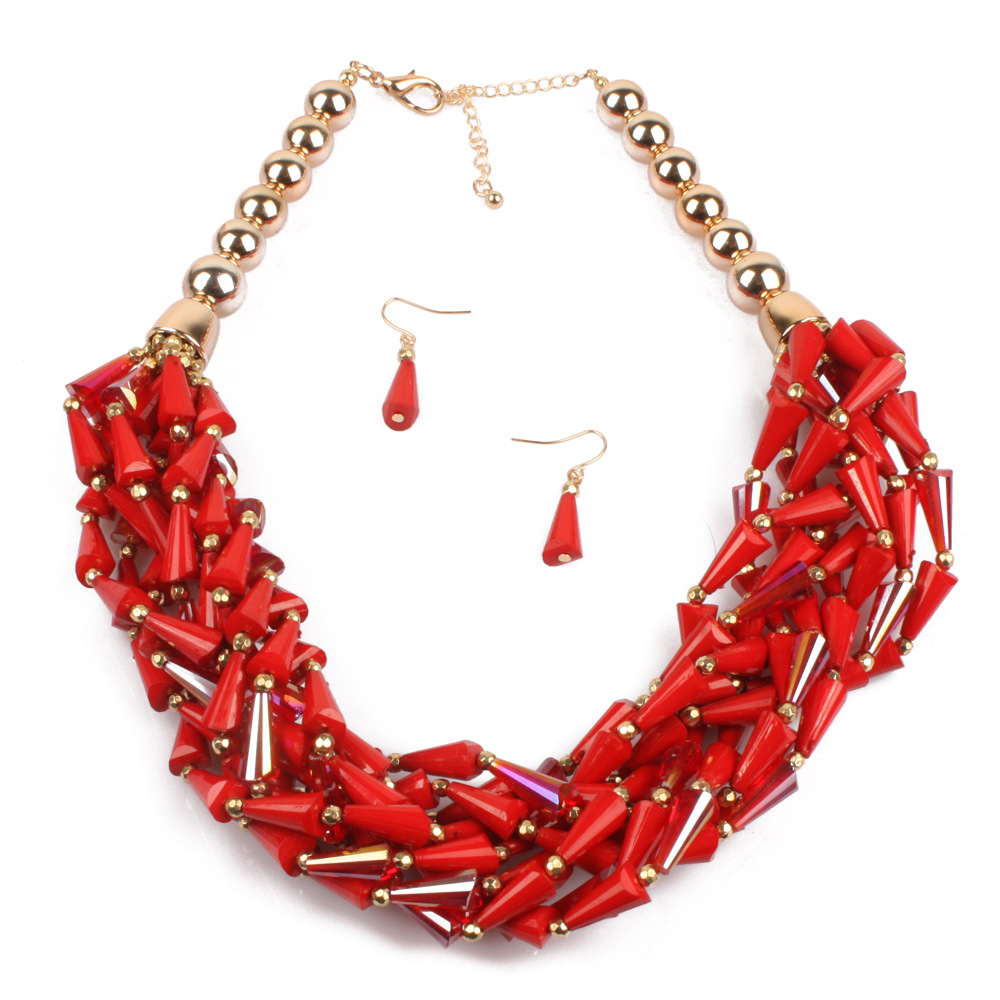 Occident and the United States Resinnecklace (Pieces of red)NHCT0019-Pieces of red