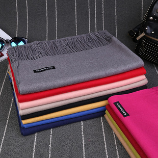 Korean version of imitation cashmere scarf women spring 2021 new Korean solid color red scarf autumn and winter tassel big shawl customization