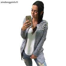 歐美新款時尚釘珠鑲珠中長款女毛衣開衫外套披肩寬松針織衫