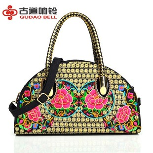 Ancient Road Bells Yunnan Ethnic Embroidered Canvas Bag Women's Bag Embroidered Hand-held Diagonal Bag Semi-round Dumpling Bag