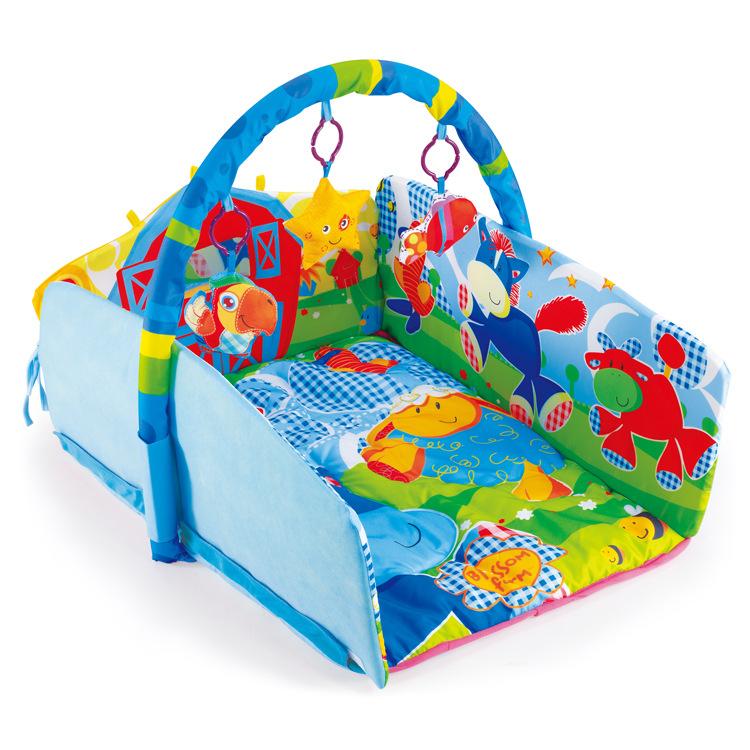 宝宝折叠游戏毯  婴儿多功能健身架爬行毯  儿童摇铃爬爬垫