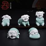 陶瓷工艺品特价厂家直销五福吉祥猪招财猪青瓷茶宠创意精品摆件