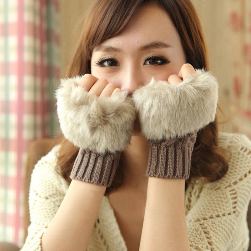 韩版秋冬季保暖手套 女士半指手套 毛绒加厚针织手套露指触屏手套