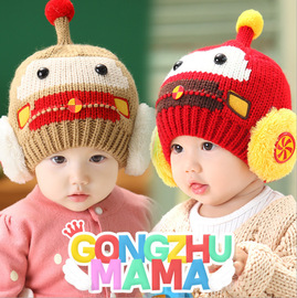 Winter new bonnet baby hat baby hooded hat car 3D modeling earmuffs wool cap