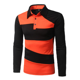 Autumn and winter fashion men's new lapel long-sleeved T-shirt personality two-color stitching tide 6891