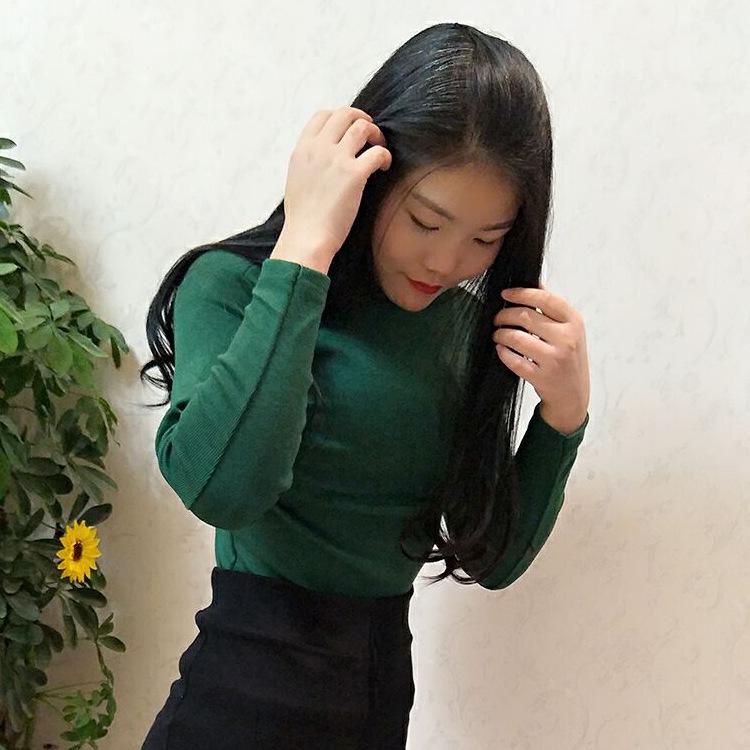 包邮一件代发2020女装t恤女长袖秋冬新款小高领打底衫女针织衫