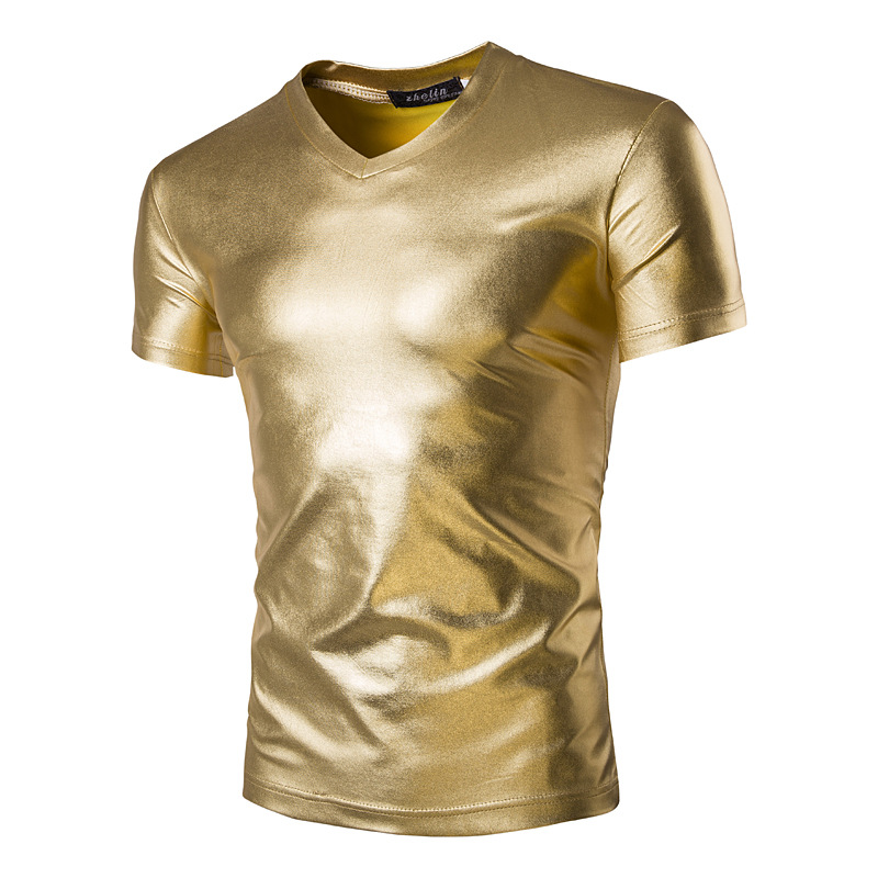Summer new men's light color slim fit short sleeve t-shirt men's V-neck bottoming shirt quick sell new performance clothes T-shirt