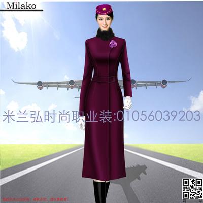 【空姐服航空高铁大衣】米兰弘品牌专业供应时尚空姐服长款大衣