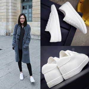 2017 new spring white lace shoes leather flat canvas shoes female white shoes casual shoes female.