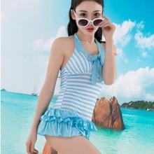 新款分体泳衣女 时尚条纹保守显瘦泳装 女士温泉游泳衣批发
