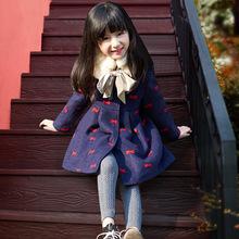 女童毛呢外套加厚秋冬装韩版2016新款中大童装羊毛呢大衣一件代发