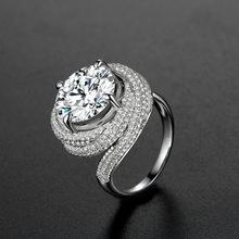 美莱福925纯银戒指女欧美豪华群镶仿真钻戒女 银饰品首饰戒指批发