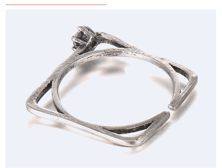 Retro metal Zircon Ring (Ancient tin ten white)NHNTF1328-Ancient tin ten white