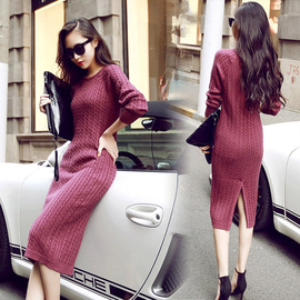 New autumn and winter solid color slim knit dress bottoming pullover sweater women's dress women's dress