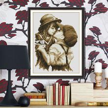 新款精准印花十字绣 客厅书房 初吻定制卡通人物布艺工艺品十字绣