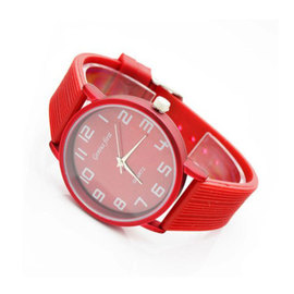 Promotional inventory processing fashion candy color silicone rubber watch men and women thin women