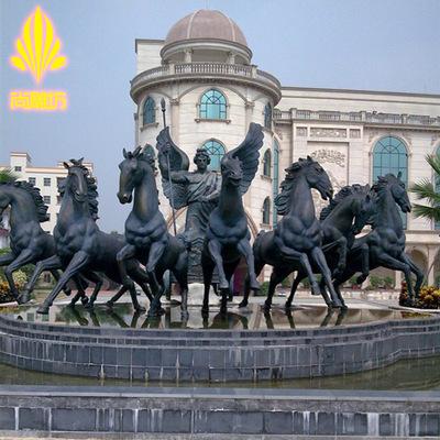 番禺厂家定制动物雕塑园林景观玻璃钢马工艺摆件喷泉户外广场装饰