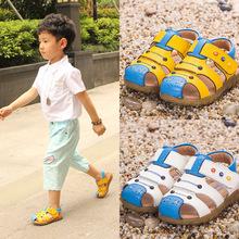2017夏新品男童凉鞋儿童中大童沙滩鞋真皮防滑小孩凉鞋女童凉鞋