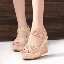 18 fashion professional women's sandals fish mouth wedge with thick lace cake with summer new magic stickers women's shoes