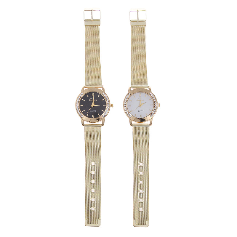 Leisure Ordinary glass mirror alloy watch (black) NHSY0475