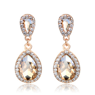 Cross-border exclusive earrings for spot wholesale, export platform classic water drop explosion style champagne earrings one drop delivery