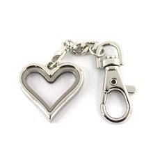 外貿出口 磁鐵可打開心形光面玻璃盒子合金鑰匙扣