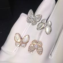 双蝴蝶天然贝母贝壳镶嵌满钻925纯银开口戒指活口甜美奢华定制女