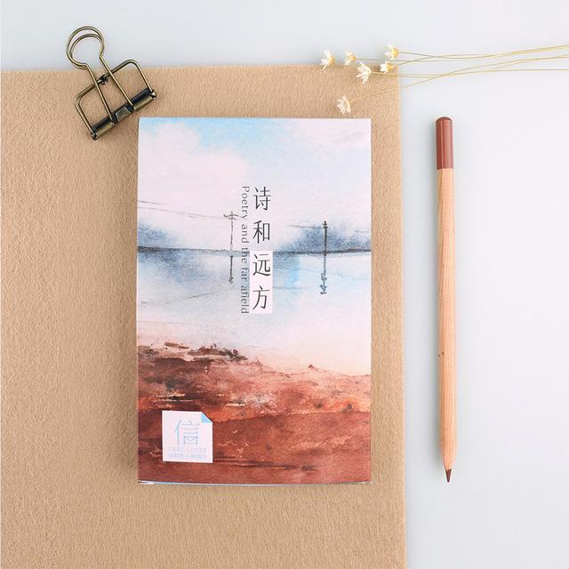 信的恋人 明信片 诗和远方 30张盒装大自然风景贺卡山雪景卡片