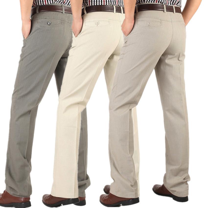 珀基袋鼠男式棉麻休闲裤春秋款高腰宽松中年中老年男裤免烫长裤子