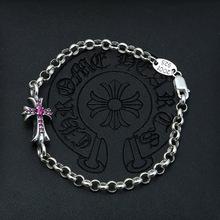 廠家大量批發925純銀時尚飾品 泰銀女款復古圓環十字架鋯石手鏈