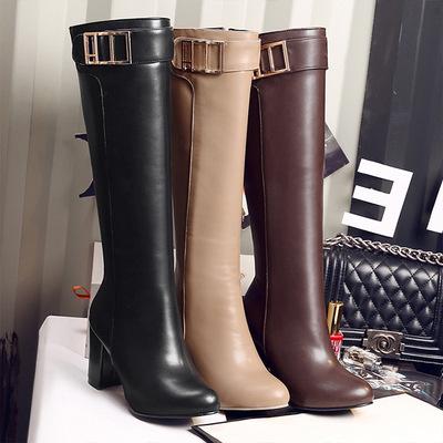 2016经典欧美女靴44 长靴骑士靴 粗跟过膝靴33高跟长筒靴32-45码