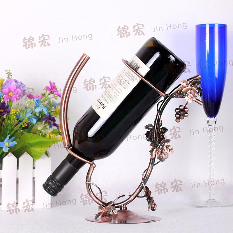 酒架 落地创意亲新时尚植物花卉铁艺红酒架 家居饰品摆件家用酒架
