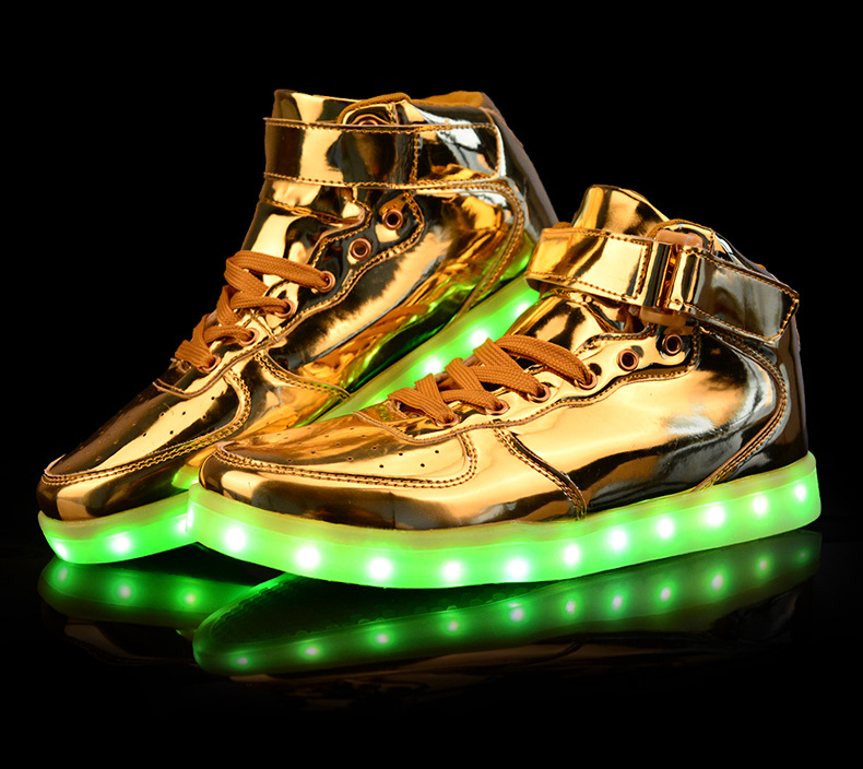 LED Luminous Women   Men High Top Sneakers LED Shoes For Adults USB ... 969c2d006aec
