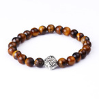 Fashion Natural Black Vajra Buddha Beads Elastic Bracelet Colorful Energy Bracelet Wholesale NHBO199845