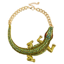 跨境配飾爆品歐美夸張項鏈鑲鉆高貴鱷魚鎖骨鏈項鏈項飾批發x303