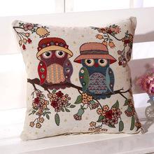 欧式复古棉麻刺绣抱枕汽车沙发办公?#26885;?#20241;靠垫猫头鹰靠枕套带枕芯